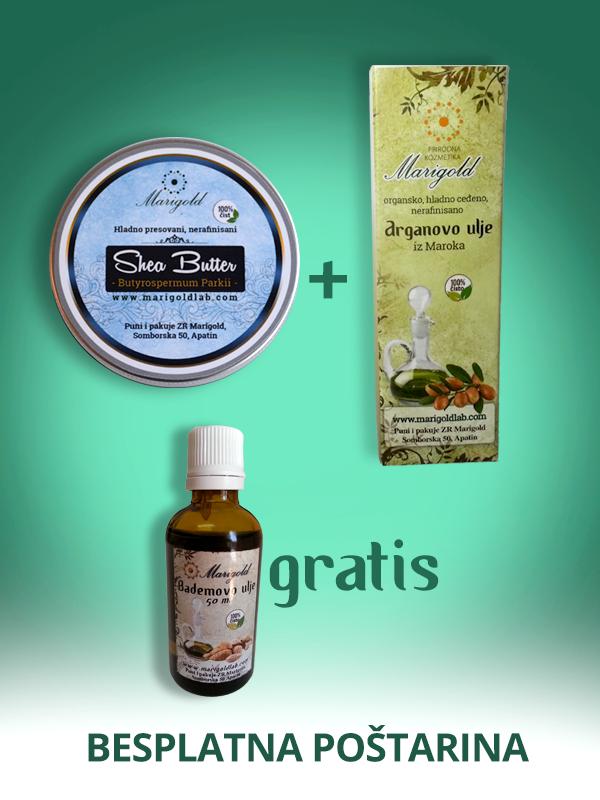 AKCIJA: Nerafinisani Shea Butter i Arganovo ulje + Bademovo ulje