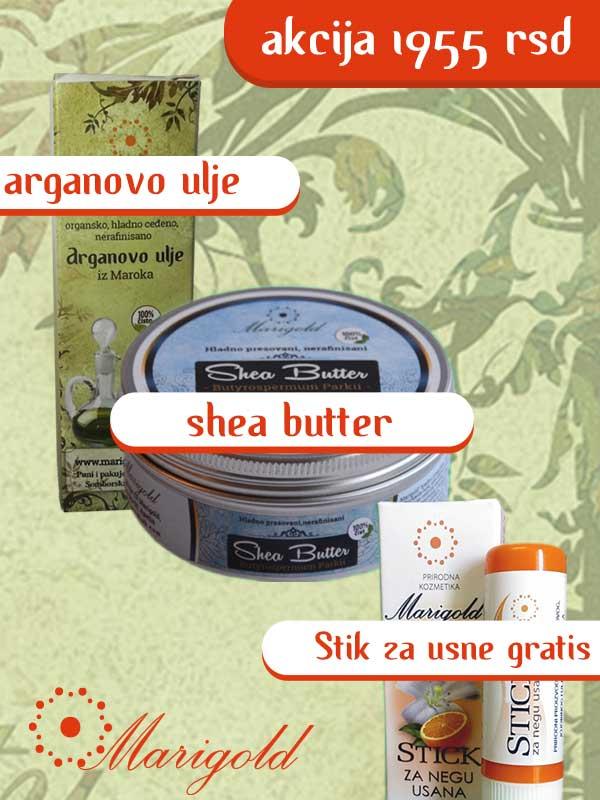 AKCIJA: Arganovo ulje,  Shea butter nerafinisani + Stik za negu usana